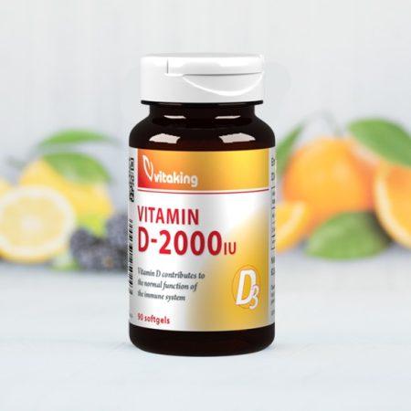 Vitaking D-vitamin 2000NE 90db - Étrend-kiegészítő, vitamin, D, A, E, K-vitamin