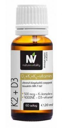 Nature & Vitality K2 + D3 (500 mcg K-komplex + 4000 NE D-vitamin) 60 adag, 20 ml