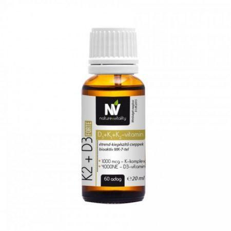 Nature & Vitality K2 + D3 Forte (1000 mcg K-komplex+4000 NE D-vitamin) 60 adag 20 ml