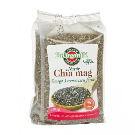 Biorganik Natúr Chia mag fekete 500g - Étel-ital, Superfood, funkcionális élelmiszer