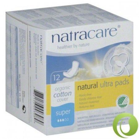 Natracare Bio egészségügyi szárnyas betét Super 12 db