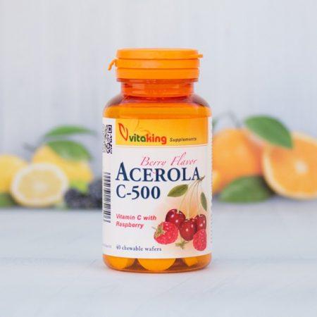 Vitaking Acerola C-500 vitamin rágótabletta 40 db - Étrend-kiegészítő, vitamin, C-vitamin